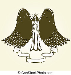 woodcut angel - Angel with banner rendered in woodcut tattoo...