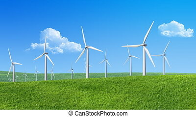 Wind turbines, cloud-drift - 20 sec. animated wind turbines...