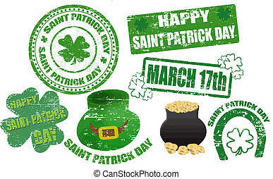 St. Patrick stamps - Set of St. Patrick stamps and symbol,...