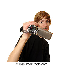 Teenager with HD Camcorder