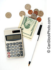 Calculator with Money and Coins - Calculator with a twenty...