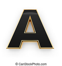 Metal letter A - Golden whith black letter A isolated on...
