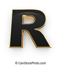 Metal letter R - Golden whith black letter R isolated on...