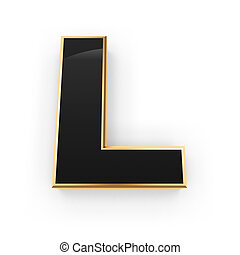 Metal letter L - Golden whith black letter L isolated on...