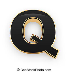 Metal letter Q - Golden whith black letter Q isolated on...