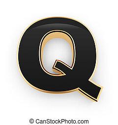 métal, lettre, q