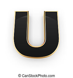 Metal letter U - Golden whith black letter U isolated on...