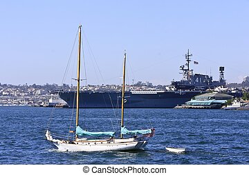 Boat on the waters of San Diego Bay
