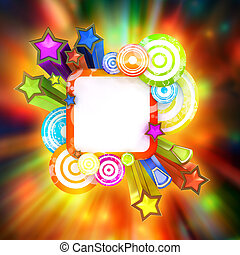 Disco style poster with beautiful colored stars and stripes