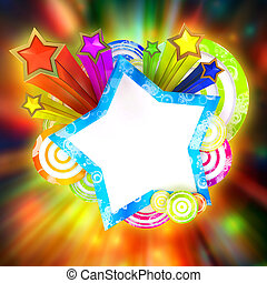 Disco banner with beautiful colored stars and stripes -...