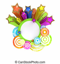 Disco style banner on white background with copy space -...