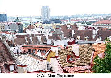 View on old city of Tallinn, Estonia EU