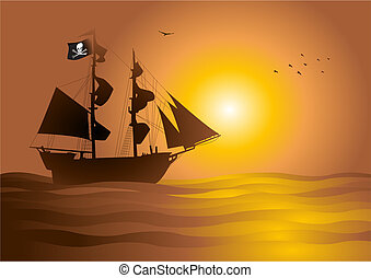 Pirate - Stock vector of a pirate ship