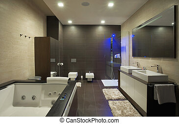 Bathroom - Modern house bathroom interior with simple and...
