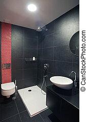 Bathroom - Modern house bathroom interior with simple and...