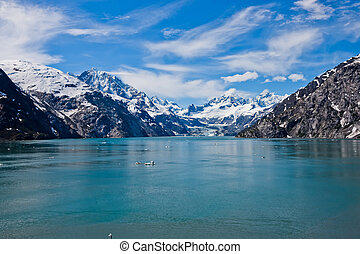 Mountain range with snow cap, glacier bay, Alaska