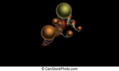 3d color metal balls.a string of ba