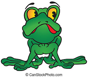 Green Frog - colored cartoon illustration, vector