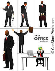 Big set of office people silhouett