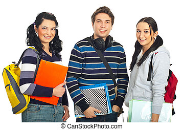 Cheerful row of students - Cheerful three students standing...