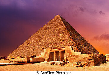 Pyramid fantasy - Ancient egyptian pyramid at sunset