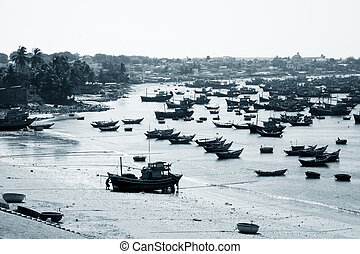 Mui Ne fishing village with a lot of boat. Vietnam