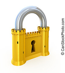 Padlock as fortress - Security concept. Padlock as fortress...