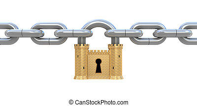 Padlock and chain - Security concept. Padlock as fortress...