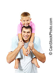 Father and son - Portrait of happy man holding his son on...