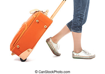 For travel  - Photo of elegant female carrying red suitcase