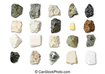 Collection of minerals on white background