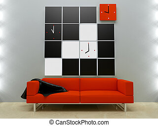 Interiors design - Red couch in modern style