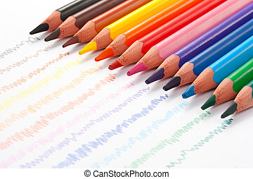 Triangular color pencils with hand-drawn lines