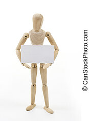 Mannequin with blank card - Mannequin holding up blank card...