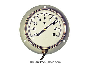 Industrial Celsius Thermometer - Silver and white, round,...