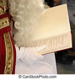 piet - a closeup of the big book of Sinterklaas, a dutch...