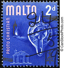 Proto Christian Era - MALTA - CIRCA 1965: A stamp printed in...