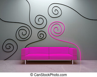 Interior design - Pink couch and decorated wall