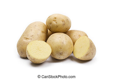 some yellow potatoes isolated on white background