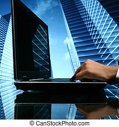 realtor cyber sales scrapers on background