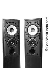 Two loudspeakers - Pair of black wooden loudspeakers