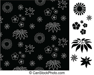 Seamless with black flowers pattern