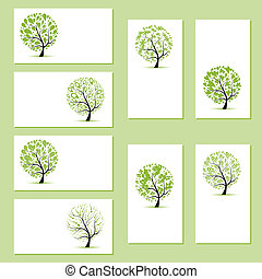 Set of business cards, floral trees for your design
