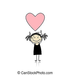 Saint valentine day - cute girl holding heart