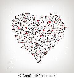 Heart shape, floral ornament for your design