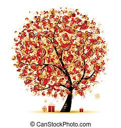 Natale, albero, dorato, tuo, disegno