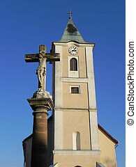 church tower and cross - catholic church tower and cross in...