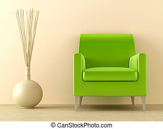 Green seat - Green modern style seat and ornaments vase in...