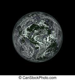 fantastic planet - 3d, space, landscape, planet, night, sky,...