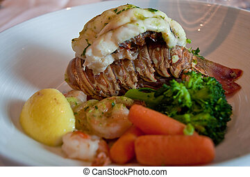 Lobster Tail with Shrimp and Vegetables - A broiled lobster...